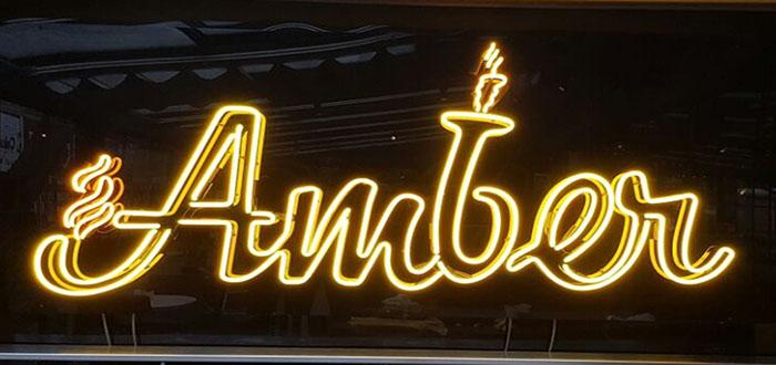 Amber Cafe Restaurant Neon Tabela ve İç Aydınlatma